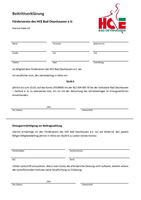 Beitrittserklärung Förderverein HCE Bad Oeynhausen